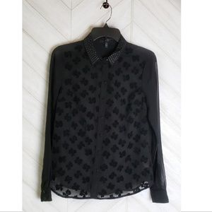 JESSICA SIMPSON black sheer long sleeved top studs